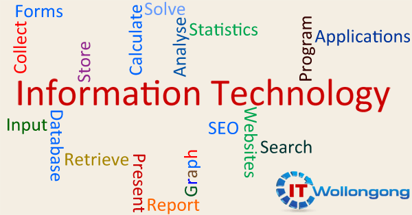 Text Diagram Illustrating Information Technology for Businesses