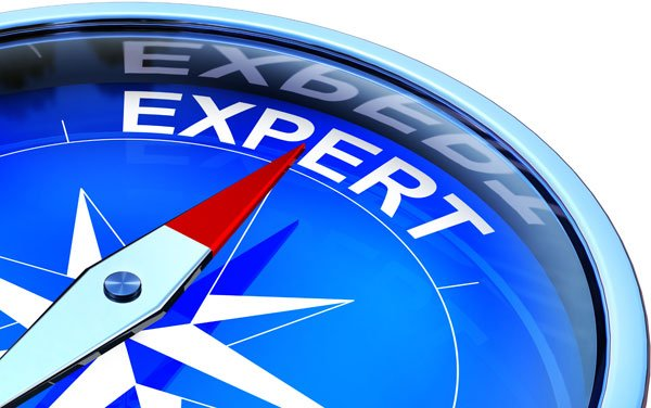 Illustration Showing Compass Pointing to the text 'Expert'