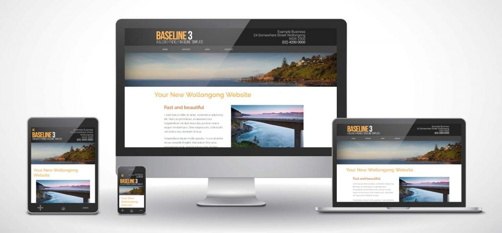 "Web design examples: IT Wollongong's ""Baseline3"" WordPress theme displayed on various devices"