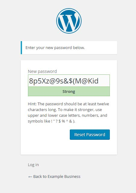 WordPress dialogue to choose a new password, showing a randomly-generated password