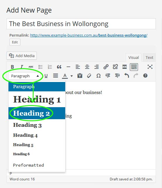 Selecting a heading level in the WordPress editor