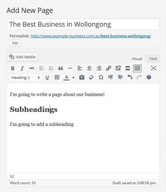 The completed heading shown in the WordPress editor
