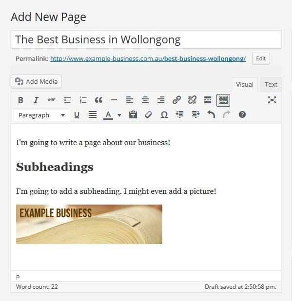 WordPress editor showing an image that was just added