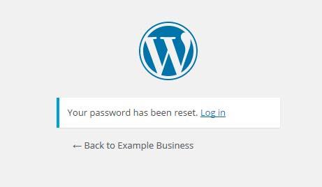 WordPress password reset confirmation dialogue
