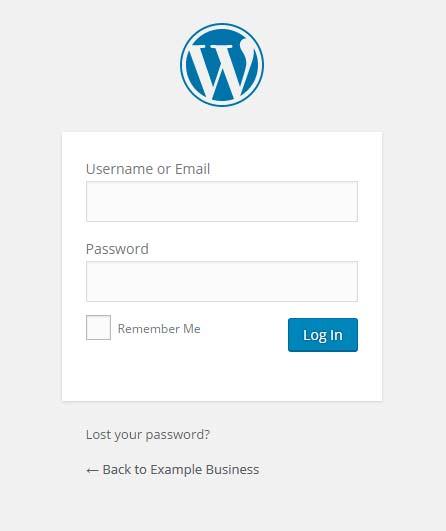 WordPress login dialogue