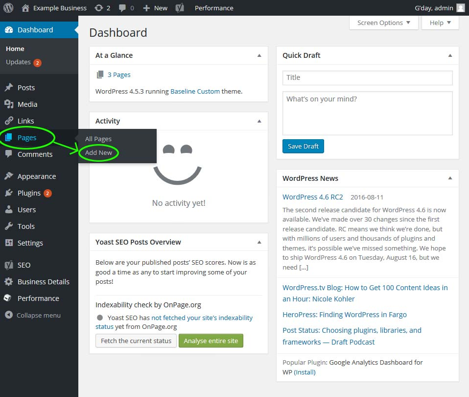 Adding a new page from the WordPress dashboard