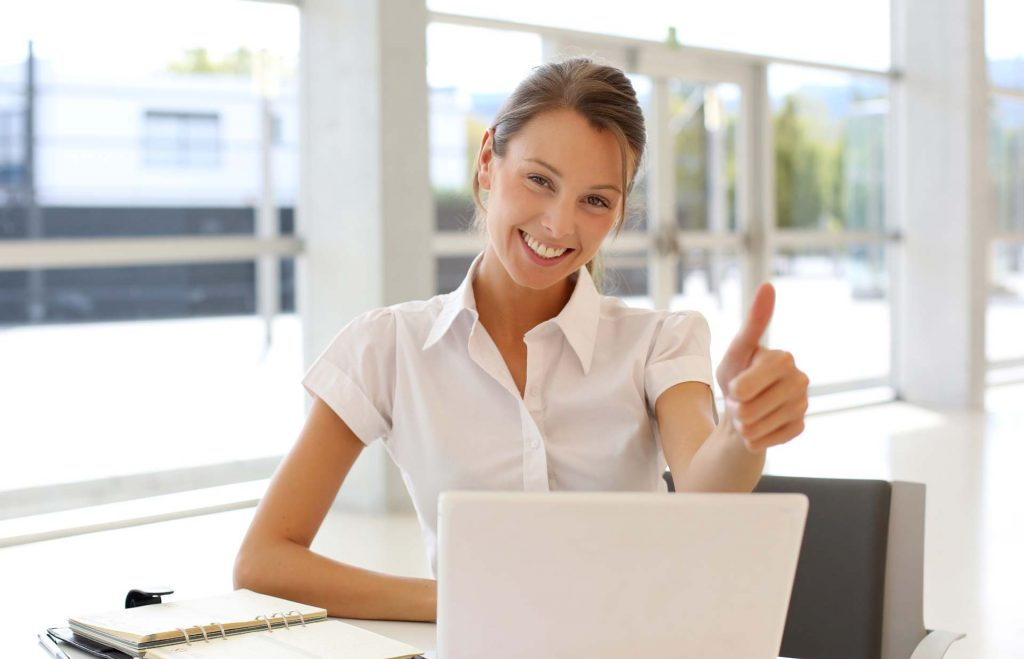 Woman happy with computer training