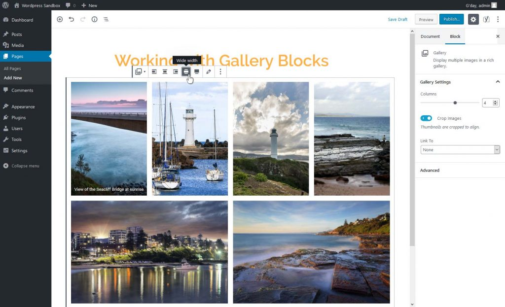 Changing the gallery width/alignment setting