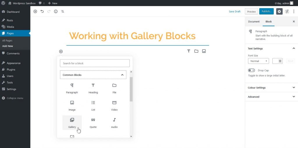 "Adding a Gallery Block through the ""Add Block"" button"