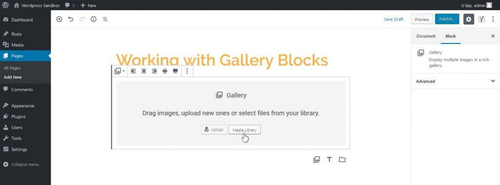 A new, empty in the WordPress Blocks editor
