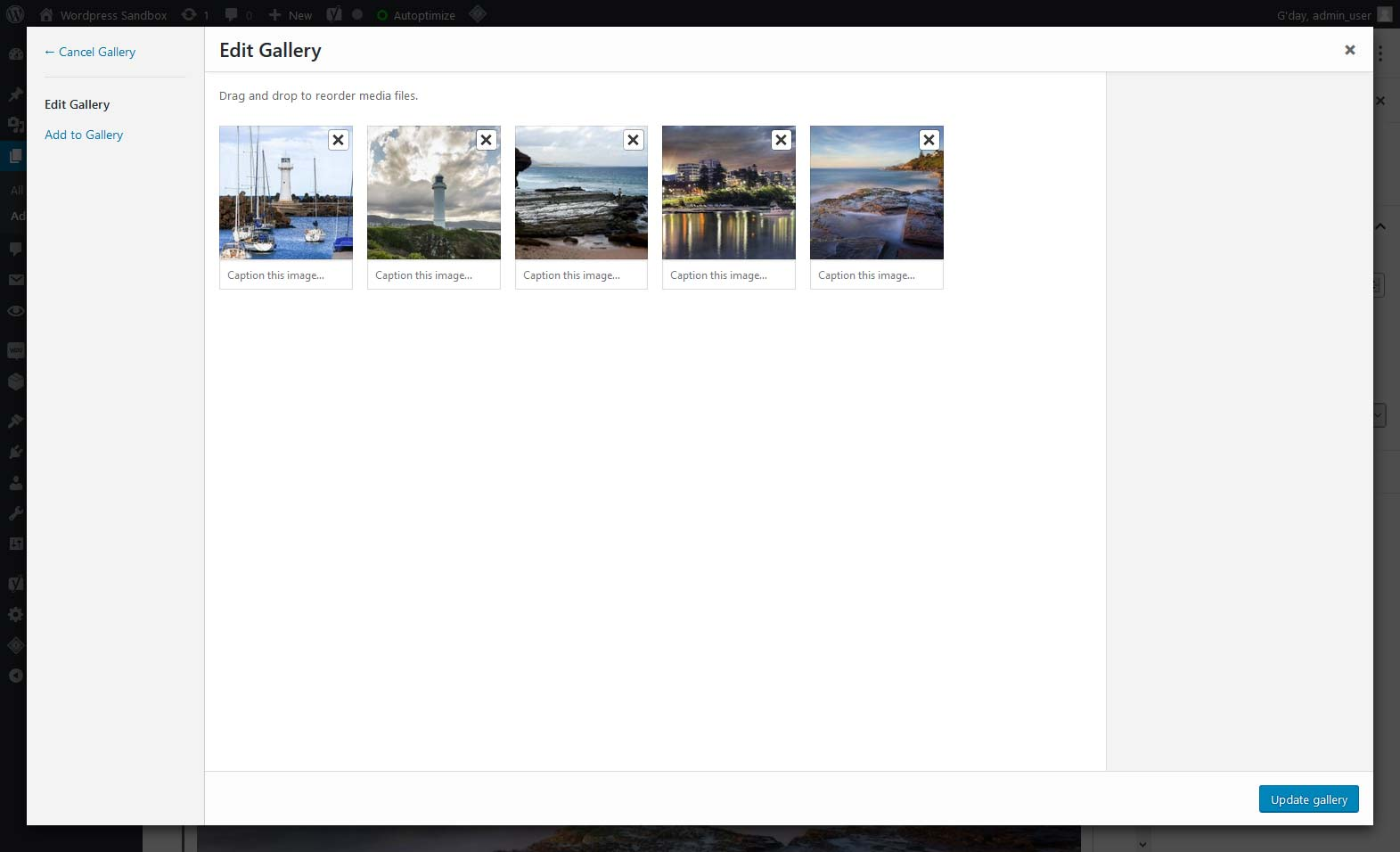 The Edit Gallery interface