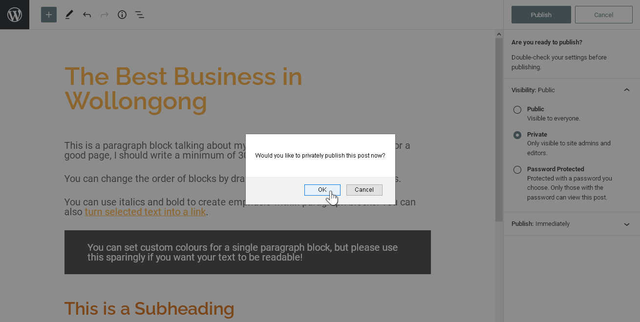 Confirmation prompt to publish the page privately