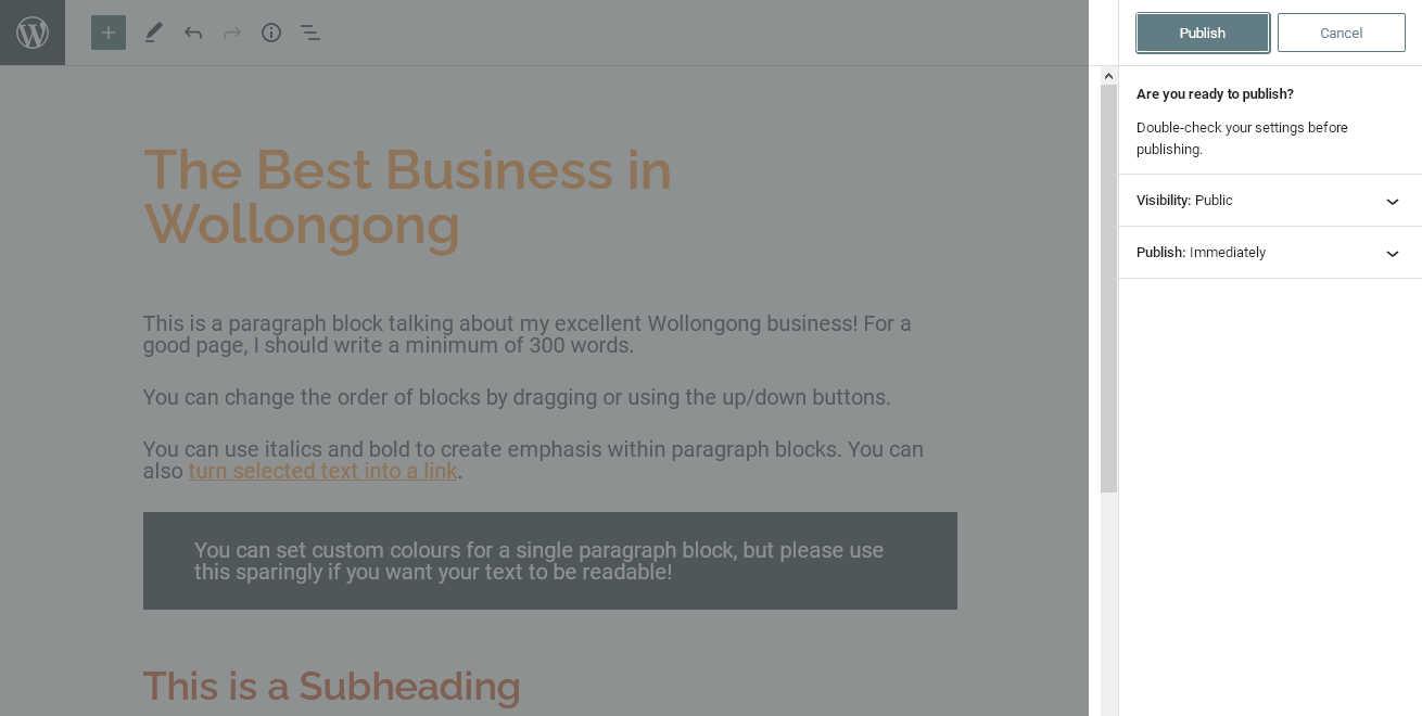 Pre-publishing checks in the WordPress blocks editor
