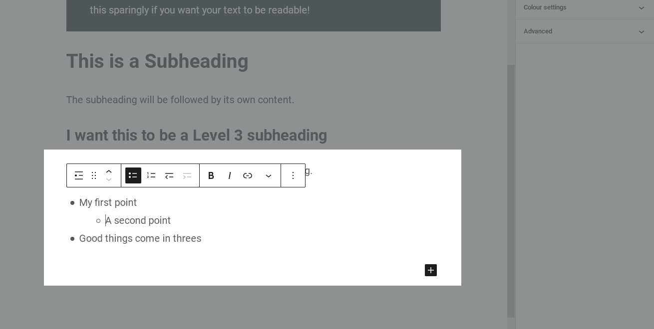 A sub-list created by indenting a list item
