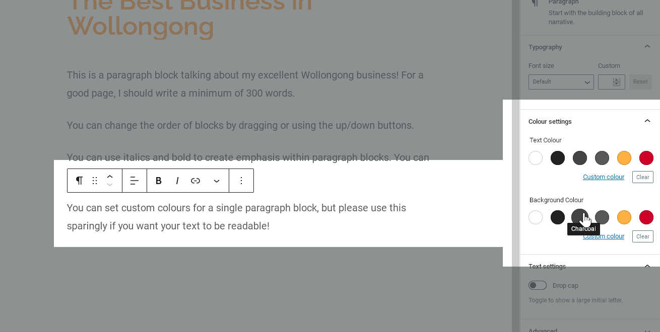 Choosing a background colour for a paragraph block