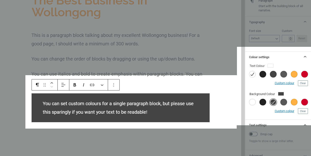 A paragraph block with grey background and white text selected