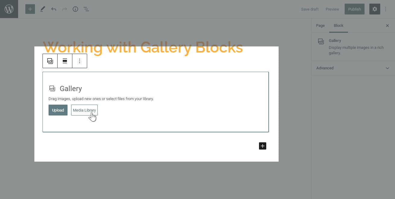 A new, empty in the WordPress Blocks editor